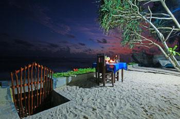 romantisches Dinner am Indischen Ozean im Hotel Wilde Ananas