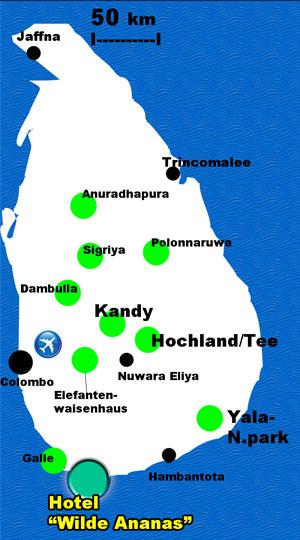Tourkarte Sri Lanka