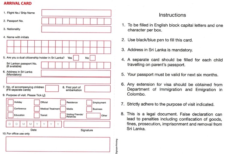 Einreisekarte Sri Lanka
