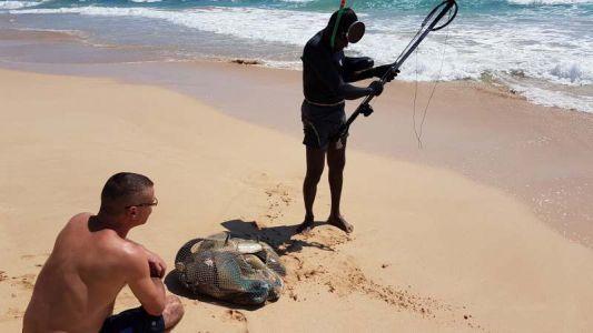 Harpunenfischer direkt vorm Hotel