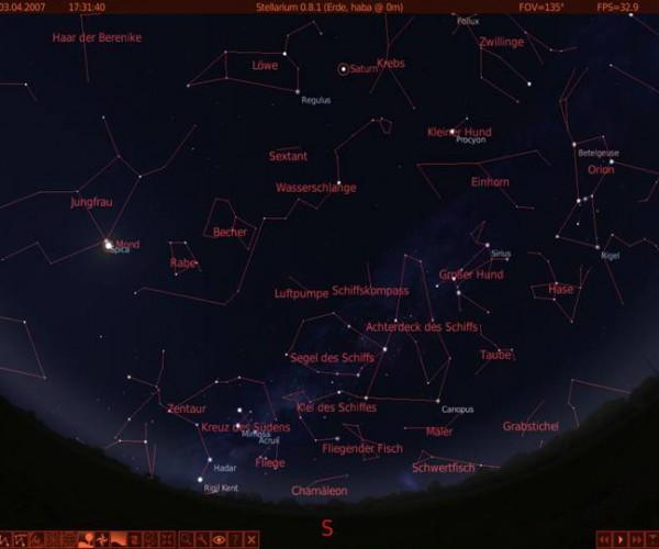 Anordnung der Sternbilder am Himmel Sri Lankas im Winter
